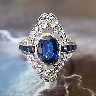 Antique Edwardian Sapphire and Diamond Engagement Ring in 950 Platinum US 6 1/2