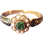 Antique Victorian Mourning Ring with Emerald Pearls and Black Enamel in 18K Gold sz 7 3/4