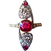 Vintage Art Deco Ruby Navette Ring with Diamond and Created Ruby in 18K Gold and Platinum US 7 1/4
