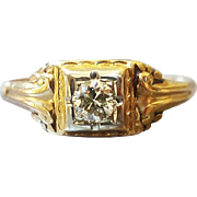 Vintage Art Deco Diamond Engagement Ring in 14K Yellow Gold with 18K White Gold Accent US 6 3/4