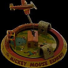 1950s Walt Disney Productions Tin Wind Up Mickey Mouse Honeymoon Express Toy Train