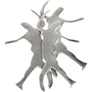 Signed Adele Sterling Silver Dancer Silhouette Pin