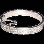 Antique Victorian Edwardian Sterling Silver Fancy Bangle Bracelet