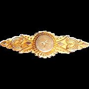 Antique Victorian Etruscan 9k 10k Gold Hair Mourning Pin