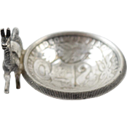 Art Deco Handmade Salt Cellar Peru Un Sol Coin w 925 Sterling Silver Lama