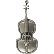 Beau Sterling Silver Vintage Viola Violin Pin