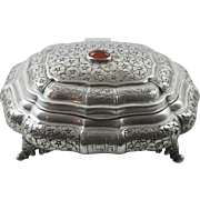 Continental 800 Silver Jeweled Embossed Vanity Casket Box Jewelry Trinket