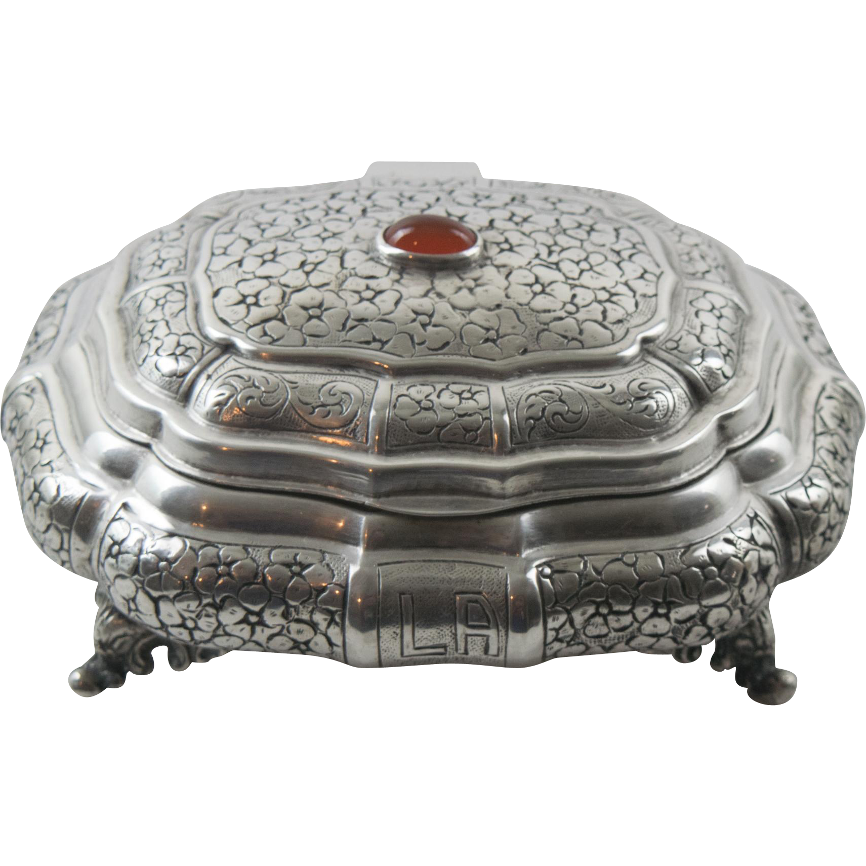Jeweled Vanity Lights : Continental 800 Silver Jeweled Embossed Vanity Casket Box Jewelry from peter-michaels-shop on ...