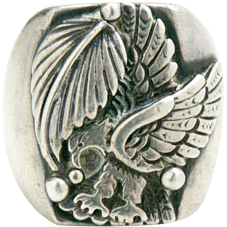 Vintage Sterling Silver Bald Eagle Ring by Navajo Artist Fredrick Chavez Size 11