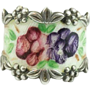 Vintage Sterling Silver Enameled Cigar Band Ring Size 6.75