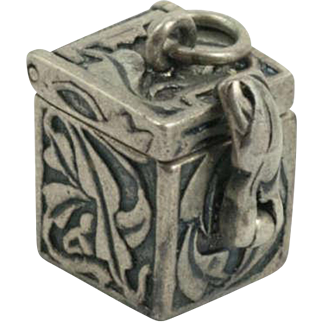 Vintage Sterling Silver Pandora Box Charm Hinged Movable