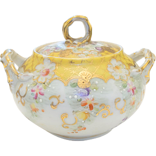 Early Pre 1891 Unmarked Nippon Porcelain Handled Vanity Sugar Jar