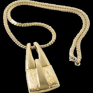 Vintage Gold Filled Snake Link Dangle Necklace