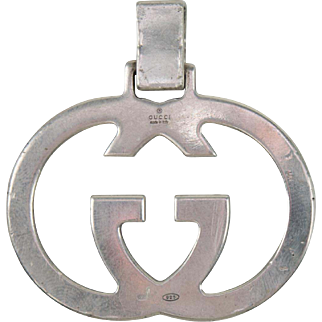 Vintage Gucci Sterling Silver Logo Pendant or Fob