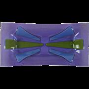 Vintage Mid Century Higgins Fused Art Glass Tray Purple Pin Pen