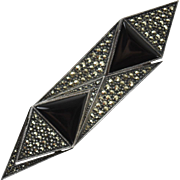 Judith Jack Vintage Sterling Silver Onyx & Marcasite Pin