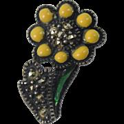 Judith Jack Sterling Silver Marcasite Enamel Sunflower Stickpin