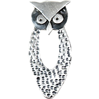 Los Ballesteros Vintage Sterling Silver Owl Pin Pendant with Mexican Eagle Mark