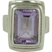 Large Sajen Amethyst Sterling Silver Chunky Ring Size 7