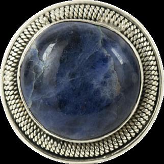 Vintage Handmade Sterling Silver Big 23m Sodalite Ring 9 Mens Womens