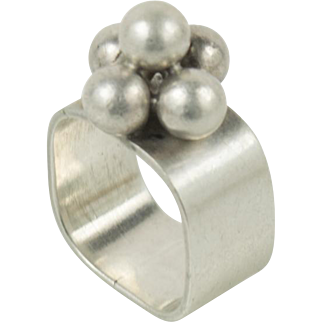 Vintage French Hand Wrought Modernist Sterling Silver Cluster Square Ring Size 5.5
