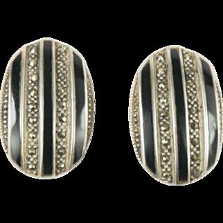 Large 925 Sterling Silver Marcasite Enamel Clip Earrings