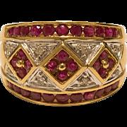 14K Gold Ruby Diamond Cigar Band Ring Size 7