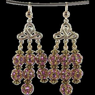 Pink Swarovski Crystal Glass Ball Vintage Upcycled Earrings