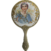 Antique Hand Painted German Porcelain Portrait Hand Mirror Full Size