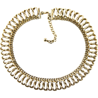 Vintage Mid Century Chunky Goldtone Fancy Collar Necklace