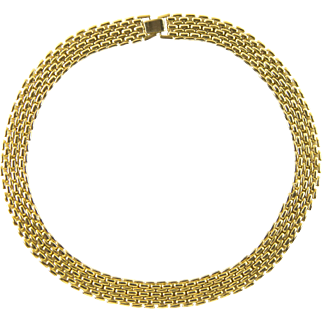 Vintage Mid Century Flexible Heavy Gold Plated Tone Collar Necklace Minty