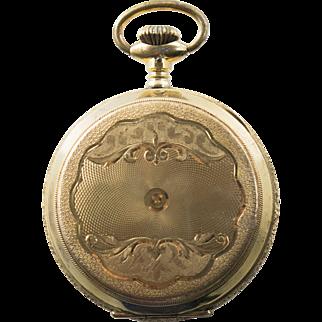 Antique Victorian Gold Filled Plate Mens Pocket Watch Hunter Case