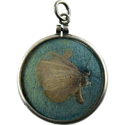 Art Deco Butterfy Wing Under Glass Stering Silver Pendant or Fob