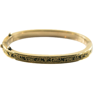 Antique Victorian Taille de Epergne Gold Filled Bangle Bracelet Small