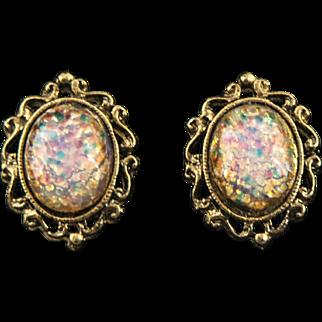 Vintage Goldtone Faux Opal Fancy Filigree Cab Earrings