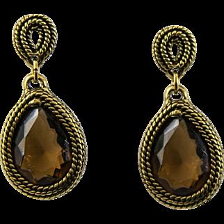 Vintage Antiqued Goldtone Faux Brown Topaz Large Dangle Earrings
