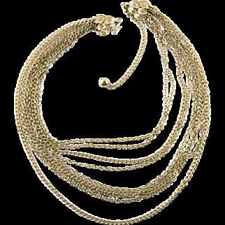 Vintage 1970s 9 Layer Goldtone Necklace Adjustable