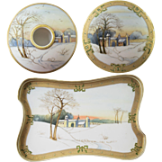 Old Nippon Morimura Winter Scene Dresser Set Jars
