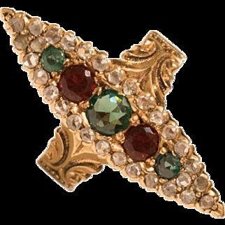 Antique Edwardian 1895 14K Gold Emerald Ruby Rose Cut Diamond Navette Ring