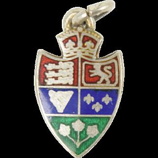 Vintage Mid Century English Coat of Arms Enamel Shield Charm