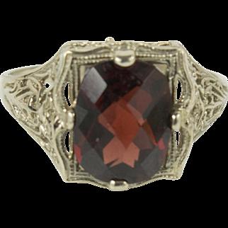 1920s Art Deco 14K White Gold Garnet Ring