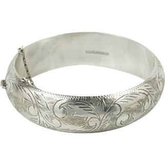 Mid Century Flower Cuff Sterling Silver Bangle Bracelet