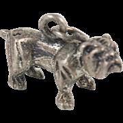 English Bulldog Sterling Silver Charm 3D Realistic Cute Vintage