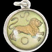 Art Deco Sterling Silver Enamel Leo the Lion Zodiac Charm