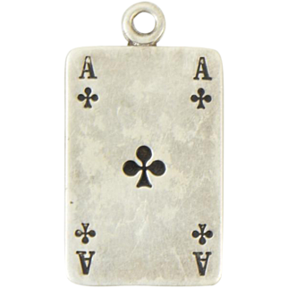 Art Deco 835 Danish European Sterling Silver Ace Clubs Card Charm