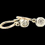 Antique Georgian Victorian 14K Gold Sterling Silver Diamond Earrings
