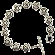Vintage Lisa Jenks Sterling Silver Star Toggle Bracelet 1991