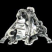 Vintage Sterling Silver Bullfighter Torero Matador Hallmarked LM Mexican Pin