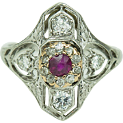1920s Art Deco Platinum Mine Cut Diamond Ruby Fancy Filigree Ring 8.25