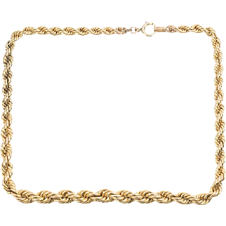 Vintage 12K Gold Filled Graduated Rope Chain Necklace
